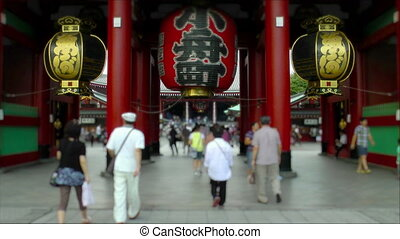 Visitors entering Senso-Ji Temple