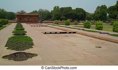 Visitors explore gardens and Inner courtyard. - At Red Fort...