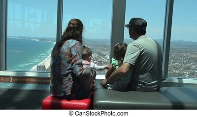 Visitors family visit in Q1 Building Sky Point Observation Deck