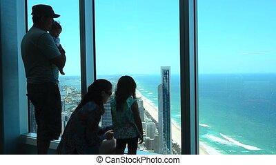 Visitors family visit in Q1 Building SkyPoint Observation Deck