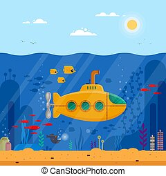 visje, bathyscaphe, gele, zeewier, periscoop, blauwe , onderwater, spandoek, coraal, concept., -, duikboot, mal, plat, leven, kleurrijke, landschap., poster, illustratie, flyer, marinier, dekking, oceaan, vector, of
