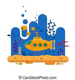 visje, bathyscaphe, gele, zeewier, periscoop, blauwe , onderwater, spandoek, coraal, concept., -, duikboot, mal, logo, plat, leven, kleurrijke, landschap., poster, illustratie, flyer, marinier, dekking, oceaan, vector, of