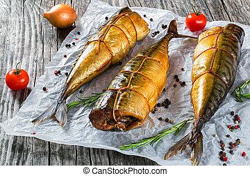 visje, bovenzijde, of, gerookt, scombe, makreel, aanzicht