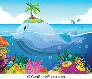 visje, eiland, en, coraal, in, de, zee
