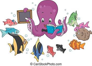 visje, octopus, leraar