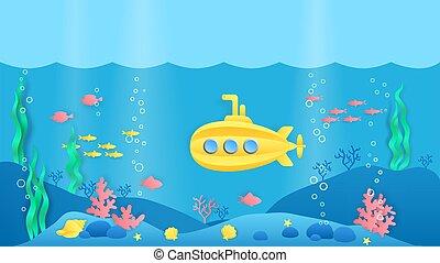 visje, rif, scène, style., onderwater, marinier, coraal, landscape, spotprent, vector, submarine., papier, seaweeds, knippen, oceaan
