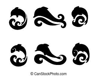 visje, set, dolfijnen, iconen