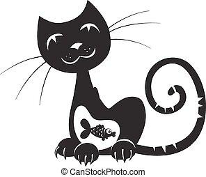 visje, silhouette, kat