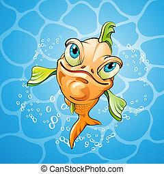 visje, spotprent, het glimlachen