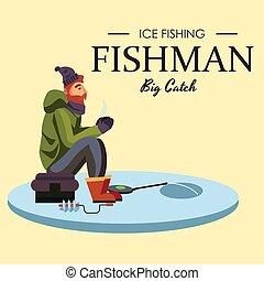 visje, staaf, crocheted, visserij, zit, gekke , spinnen, ...