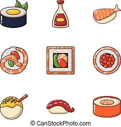 visje, voedings, iconen, set, spotprent, stijl