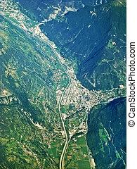 visp, suisse, -, vue aérienne