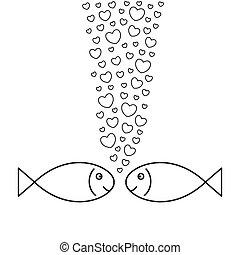 vissen, love., twee, hearts-bubbles.