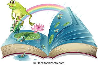 vissen, storybook, kikker, vijver