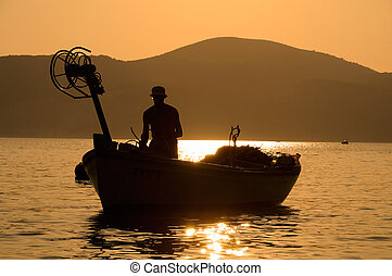 visser, in, de, scheepje