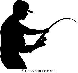 visser, staaf, silhouette, visserij