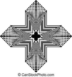visser, transparant, achtergrond, tridimensional, kruis, arabesk, pseudo, illusie