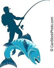 visser, vangsten, silhouette, visje
