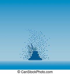 visserboot, en, de, seagulls