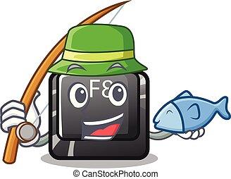 visserij, f8, knoop, installed, op, computer, mascotte