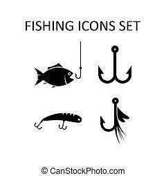 visserij, iconen, set., silhouette, vector, tekens & borden