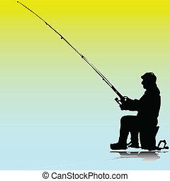 visserij, illustratie, man