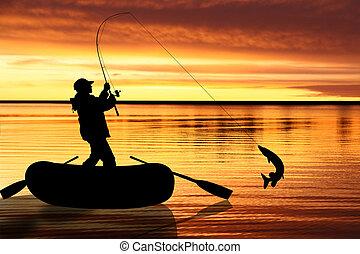 visserij, illustratie, vlieg
