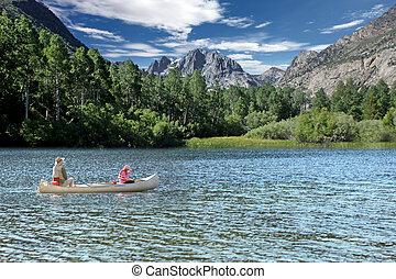 visserij, in, de, sierra, berg, meren