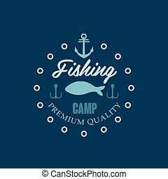 visserij, kamp, logo., vector, illustratie