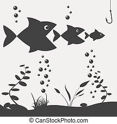 visserij, op, de, boat., visserij, ontwerp