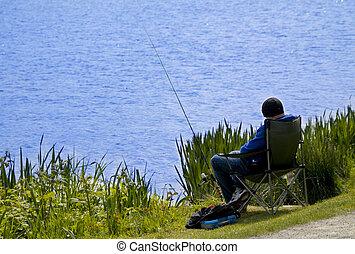 visserij, op, de, meer