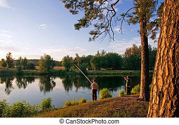 visserij, op, ondergaande zon
