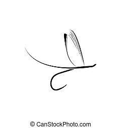 visserij, pictogram, vlieg