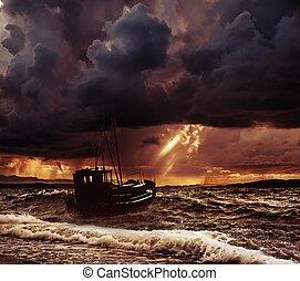 visserij, stormachtige zee, scheepje