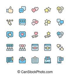 visszacsatolás, állhatatos, szeret, icons., egyenes, piros, lakás, nem szeret, more., szín, feláll, lapozgat