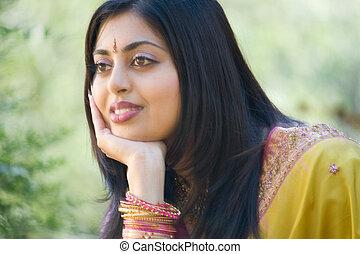 visszatükröző, indiai, nő