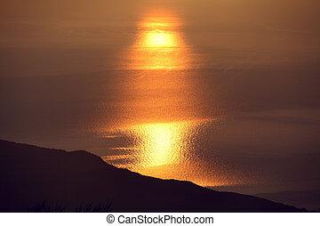 visszaverődés, fény, víz, tenger, idő, nap, napkelte