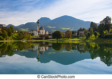 visszaverődés, képben látható, a, tó, alatt, reith, ausztria