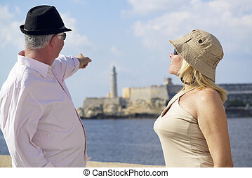 visszavonultság, havanna, kuba, párosít, emberek, öregedő, ünnepek, aktivál, utazó, móka, idősebb ember, idegenforgalom, birtoklás