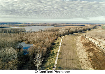 vista aérea, a, rio, ligado, floresta outono, plain.