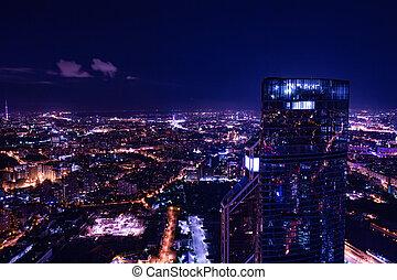 vista aérea, cityscape, por la noche