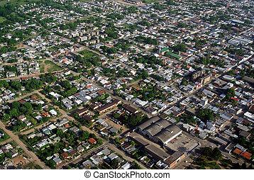 vista aérea, de, área residencial