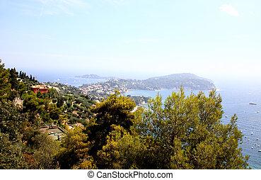 vista aérea, de, agradável, e, perto, ilhas