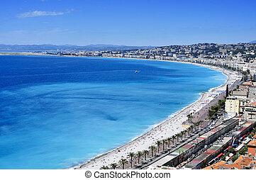 vista aérea, de, agradável, frança, e, mar mediterrâneo