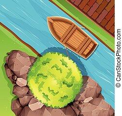 vista aérea, de, barco, en, corriente