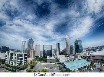 vista aérea, de, charlotte, carolina norte, skyline