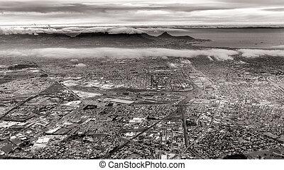 vista aérea, de, cidade do cabo