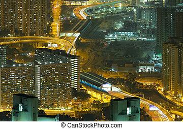 vista aérea, de, cidade, noturna