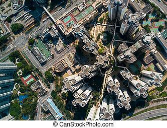 vista aérea, de, ciudad, en, hong kong