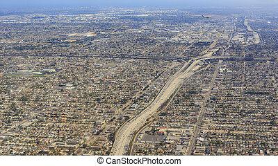 vista aérea, de, condado los angeles
